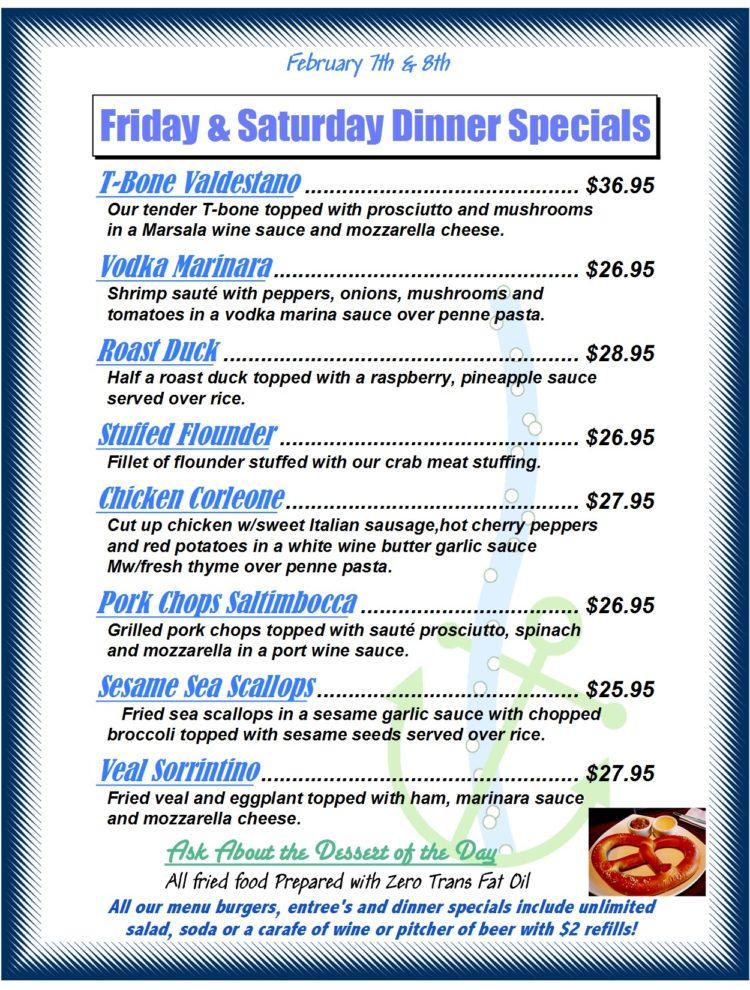 Friday & Saturday Dinner Specials