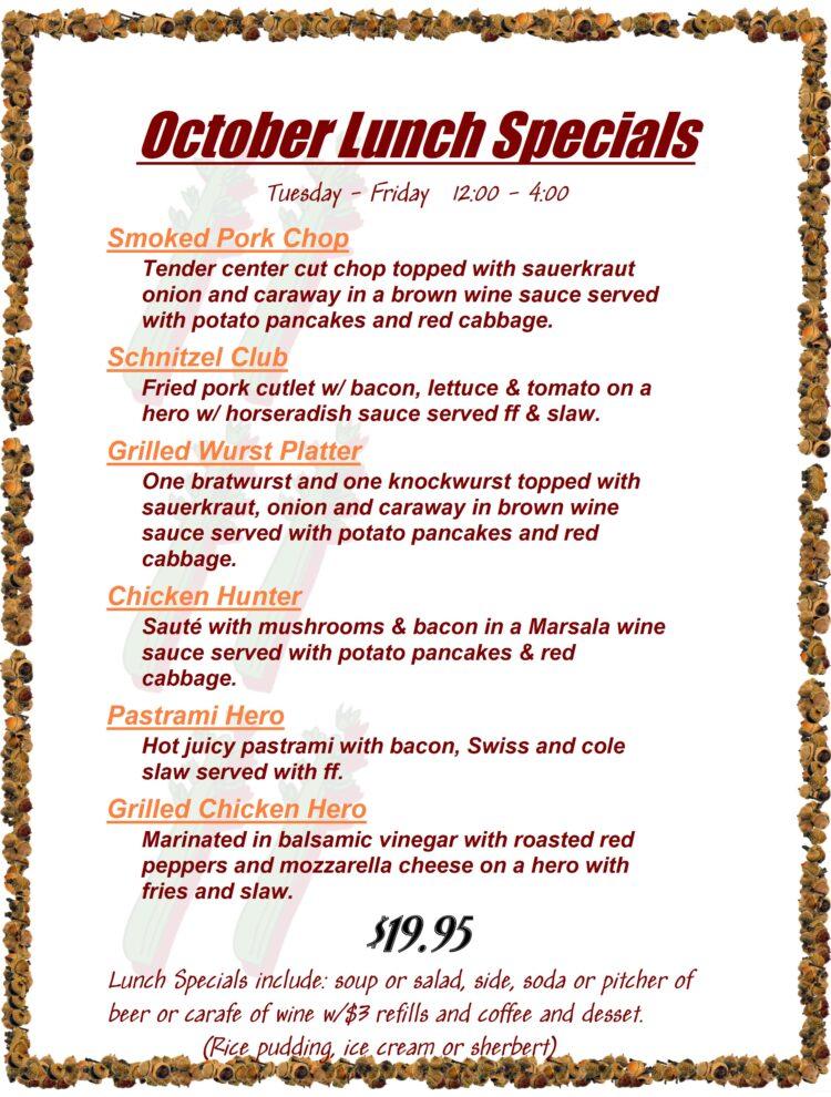 October lunch specials