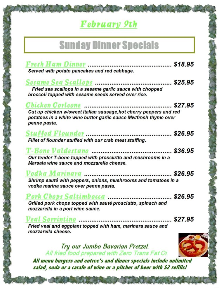 Sunday Dinner Specials Menu