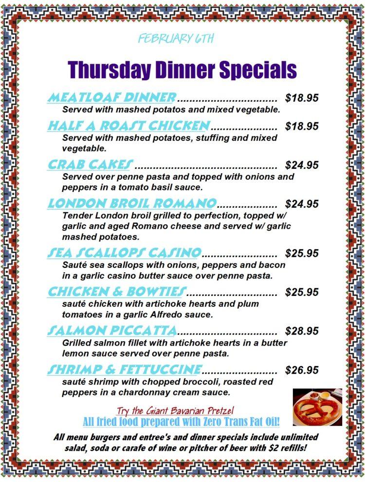 Thursday Dinner Specials