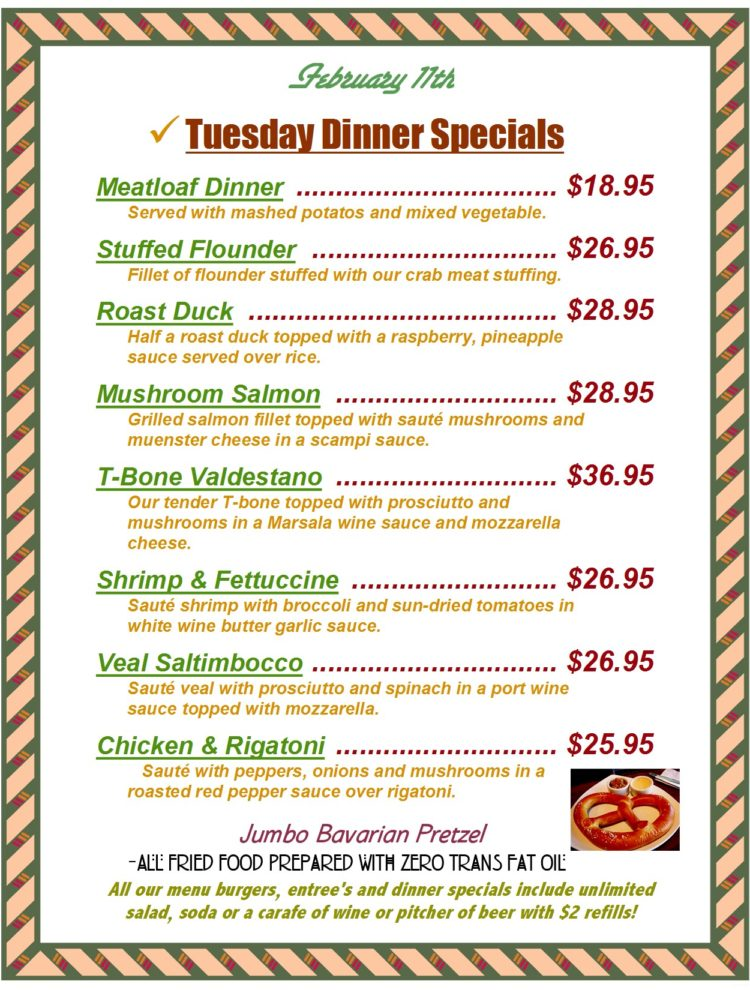 Tuesday Dinner Specials