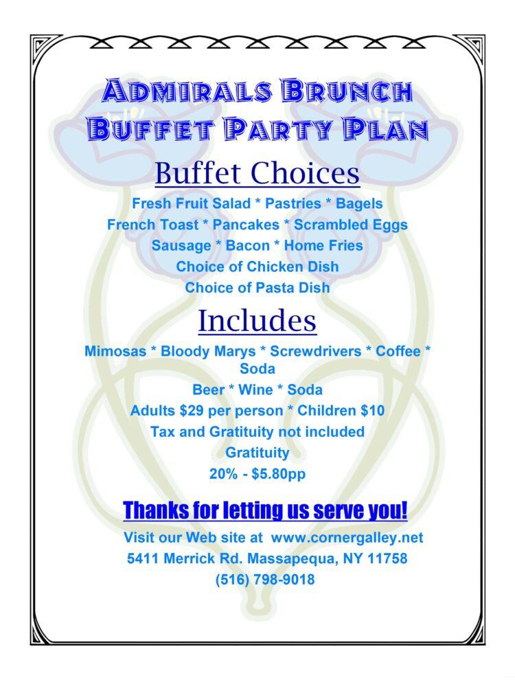 Admirals Brunch Buffet Party Plan