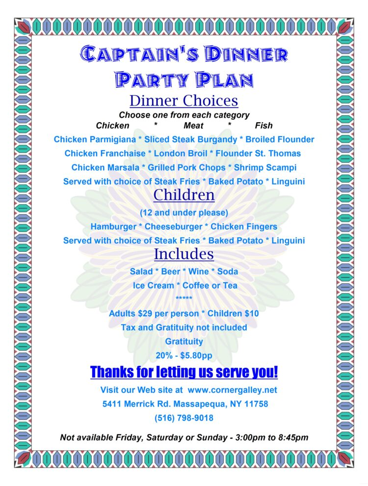 Captain's Dinner Party Plan