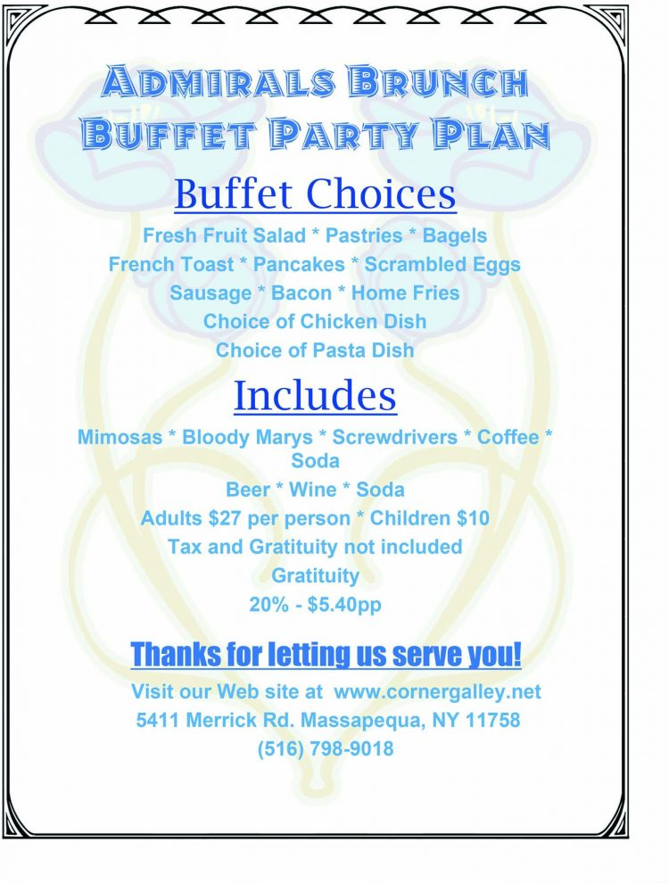 MenuPro Admirals Brunch Buffet Party Plan