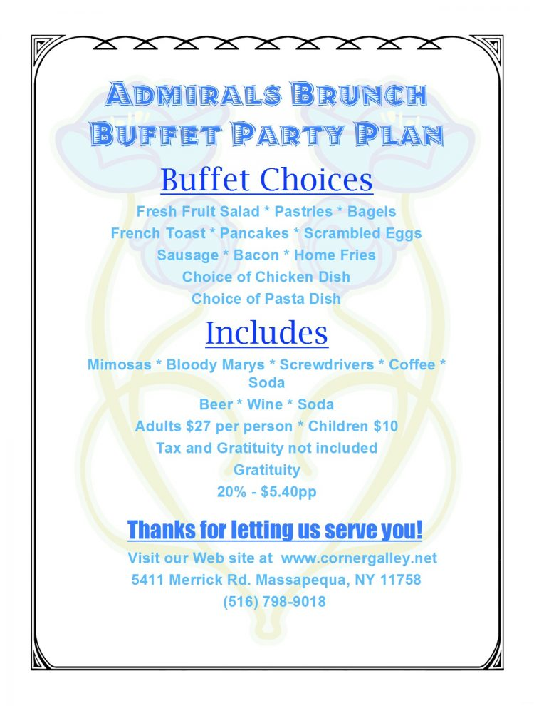 Admirals Brunch Buffet Party Plan