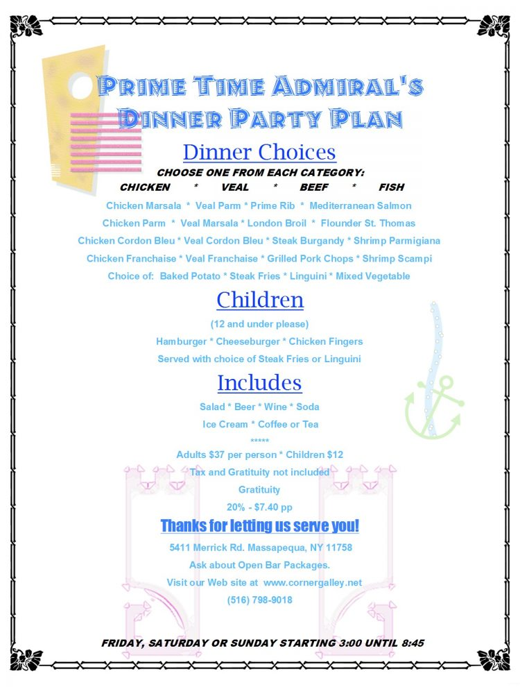 Admiral's Dinner Party Plan - Prime Time