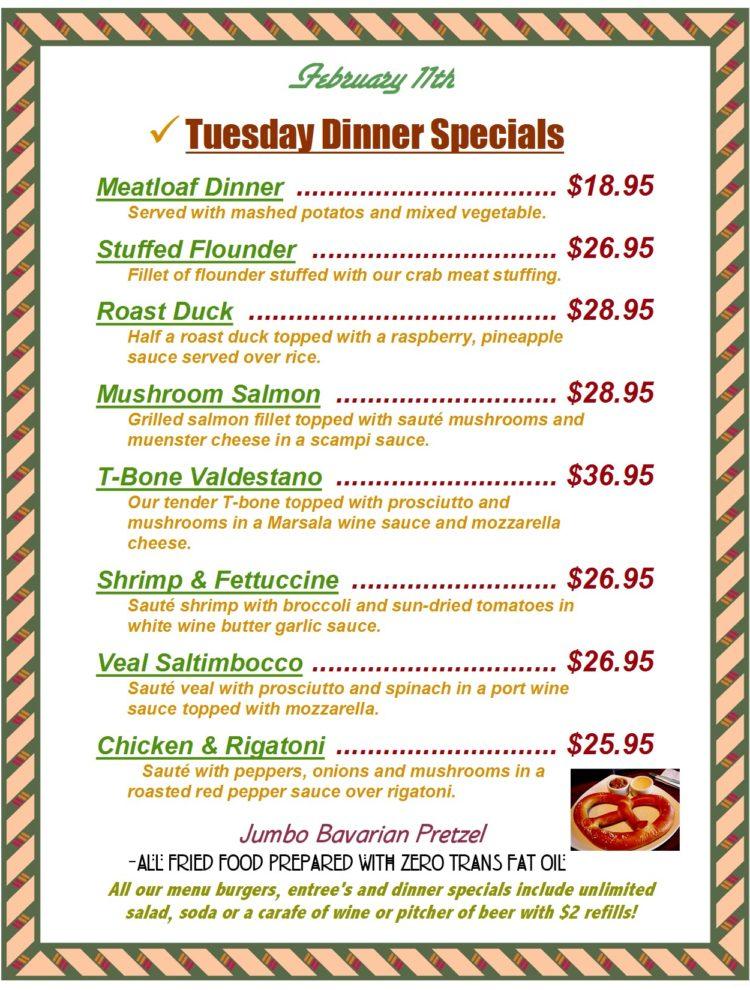 Tuesday Dinner Specials